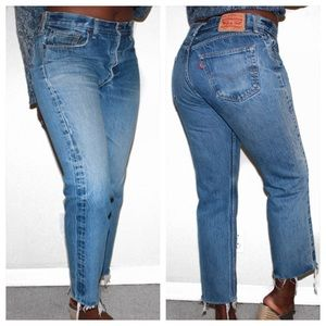 Levi's Vintage 501 Custom Cropped Aged Denim